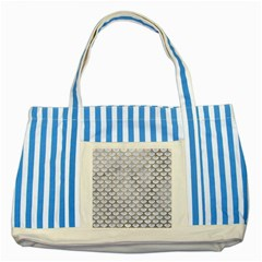 Scales3 White Marble & Silver Paint (r) Striped Blue Tote Bag by trendistuff