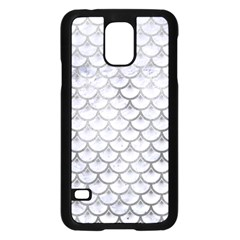 Scales3 White Marble & Silver Paint (r) Samsung Galaxy S5 Case (black) by trendistuff