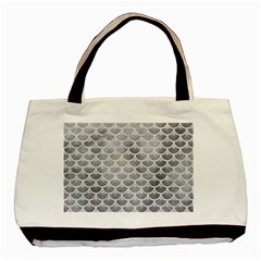 Scales3 White Marble & Silver Paint Basic Tote Bag by trendistuff