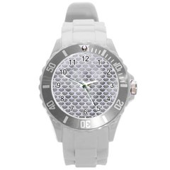 Scales3 White Marble & Silver Paint Round Plastic Sport Watch (l) by trendistuff