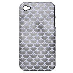 Scales3 White Marble & Silver Paint Apple Iphone 4/4s Hardshell Case (pc+silicone) by trendistuff