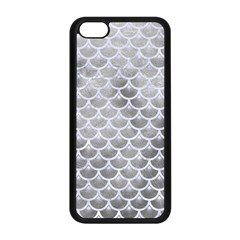 Scales3 White Marble & Silver Paint Apple Iphone 5c Seamless Case (black) by trendistuff