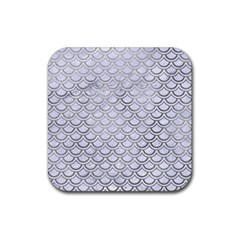 Scales2 White Marble & Silver Paint (r) Rubber Square Coaster (4 Pack)  by trendistuff