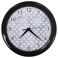 Scales2 White Marble & Silver Paint (r) Wall Clocks (black) by trendistuff