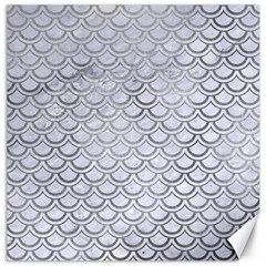 Scales2 White Marble & Silver Paint (r) Canvas 16  X 16   by trendistuff
