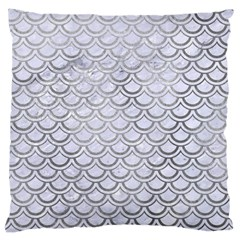 Scales2 White Marble & Silver Paint (r) Large Cushion Case (two Sides) by trendistuff