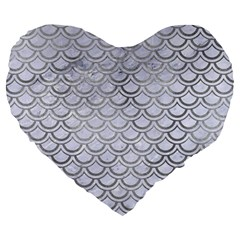 Scales2 White Marble & Silver Paint (r) Large 19  Premium Heart Shape Cushions by trendistuff