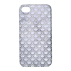 Scales2 White Marble & Silver Paint (r) Apple Iphone 4/4s Hardshell Case With Stand by trendistuff