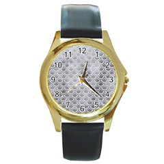 Scales2 White Marble & Silver Paint Round Gold Metal Watch by trendistuff