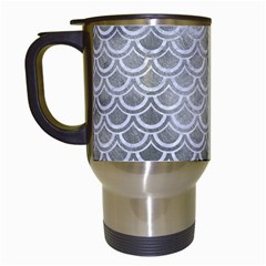 Scales2 White Marble & Silver Paint Travel Mugs (white) by trendistuff