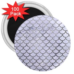 Scales1 White Marble & Silver Paint (r) 3  Magnets (100 Pack) by trendistuff