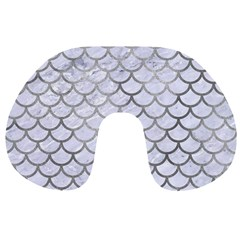 Scales1 White Marble & Silver Paint (r) Travel Neck Pillows by trendistuff