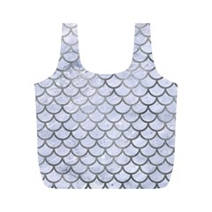 Scales1 White Marble & Silver Paint (r) Full Print Recycle Bags (m)  by trendistuff
