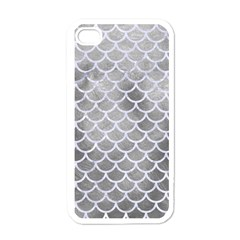 Scales1 White Marble & Silver Paint Apple Iphone 4 Case (white) by trendistuff