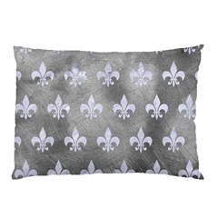Royal1 White Marble & Silver Paint (r) Pillow Case by trendistuff