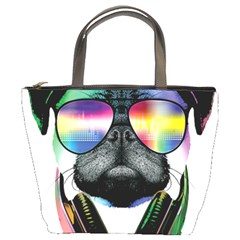 Dj Pug Cool Dog Bucket Bags by alexamerch