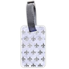 Royal1 White Marble & Silver Paint Luggage Tags (two Sides) by trendistuff