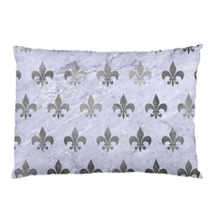 Royal1 White Marble & Silver Paint Pillow Case (two Sides) by trendistuff