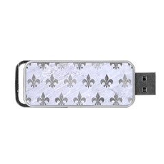 Royal1 White Marble & Silver Paint Portable Usb Flash (one Side) by trendistuff