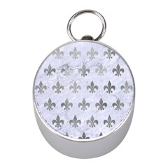 Royal1 White Marble & Silver Paint Mini Silver Compasses