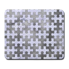 Puzzle1 White Marble & Silver Paint Large Mousepads by trendistuff