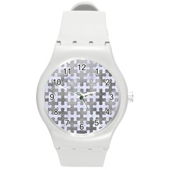 Puzzle1 White Marble & Silver Paint Round Plastic Sport Watch (m) by trendistuff