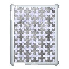 Puzzle1 White Marble & Silver Paint Apple Ipad 3/4 Case (white)