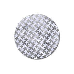 Houndstooth2 White Marble & Silver Paint Magnet 3  (round) by trendistuff