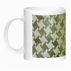 Houndstooth2 White Marble & Silver Paint Night Luminous Mugs by trendistuff