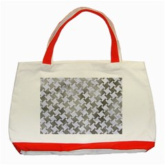 Houndstooth2 White Marble & Silver Paint Classic Tote Bag (red) by trendistuff