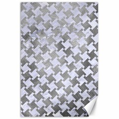 Houndstooth2 White Marble & Silver Paint Canvas 20  X 30   by trendistuff
