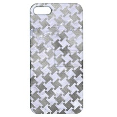 Houndstooth2 White Marble & Silver Paint Apple Iphone 5 Hardshell Case With Stand by trendistuff