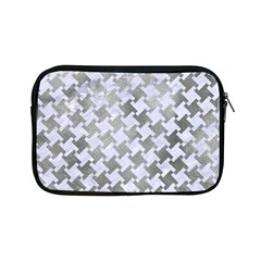 Houndstooth2 White Marble & Silver Paint Apple Ipad Mini Zipper Cases by trendistuff