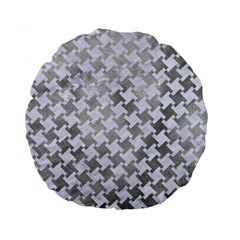 Houndstooth2 White Marble & Silver Paint Standard 15  Premium Flano Round Cushions by trendistuff