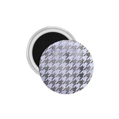 Houndstooth1 White Marble & Silver Paint 1 75  Magnets by trendistuff