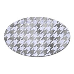 Houndstooth1 White Marble & Silver Paint Oval Magnet by trendistuff