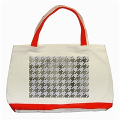 Houndstooth1 White Marble & Silver Paint Classic Tote Bag (red) by trendistuff