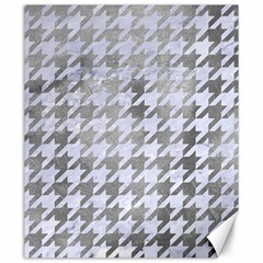 Houndstooth1 White Marble & Silver Paint Canvas 20  X 24   by trendistuff