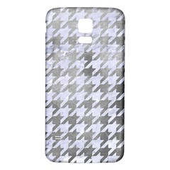 Houndstooth1 White Marble & Silver Paint Samsung Galaxy S5 Back Case (white) by trendistuff