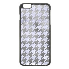 Houndstooth1 White Marble & Silver Paint Apple Iphone 6 Plus/6s Plus Black Enamel Case by trendistuff