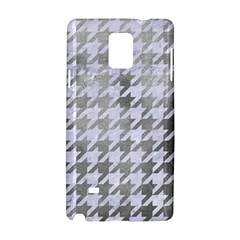 Houndstooth1 White Marble & Silver Paint Samsung Galaxy Note 4 Hardshell Case by trendistuff