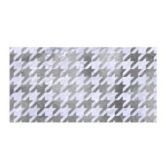 Houndstooth1 White Marble & Silver Paint Satin Wrap by trendistuff