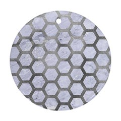 Hexagon2 White Marble & Silver Paint (r) Round Ornament (two Sides) by trendistuff