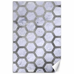 Hexagon2 White Marble & Silver Paint (r) Canvas 24  X 36  by trendistuff