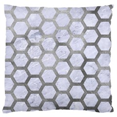 Hexagon2 White Marble & Silver Paint (r) Standard Flano Cushion Case (one Side) by trendistuff