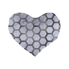 Hexagon2 White Marble & Silver Paint (r) Standard 16  Premium Flano Heart Shape Cushions by trendistuff