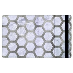 Hexagon2 White Marble & Silver Paint (r) Apple Ipad Pro 9 7   Flip Case by trendistuff