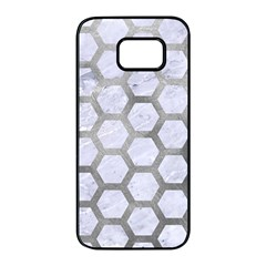 Hexagon2 White Marble & Silver Paint (r) Samsung Galaxy S7 Edge Black Seamless Case by trendistuff