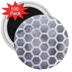 Hexagon2 White Marble & Silver Paint 3  Magnets (100 Pack) by trendistuff