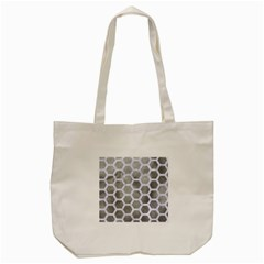 Hexagon2 White Marble & Silver Paint Tote Bag (cream) by trendistuff